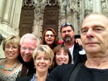 One of Len Lester's many Ipad pictures, this one of some of us in front of church!