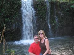 Ken and Pam at the waterfall on a wonderful bike ride in Maui