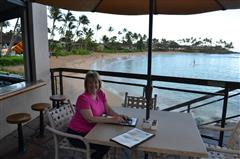 Pattin enjoying her Lanai at the Napili Kai