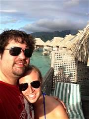 Honeymooners Matt and Kristi in Moorea with their overwater bungalow!