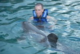 Everyone wants to swim with the dolphins!  Even Damon!