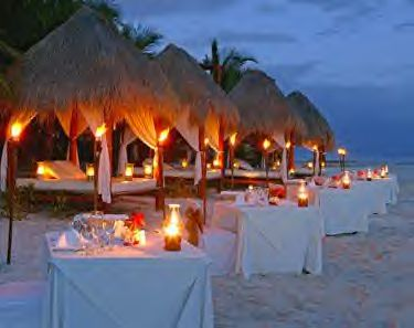A private candle light dinner on the beach is very romantic!
