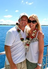 Jay and Carrie on boat to Bora Bora!