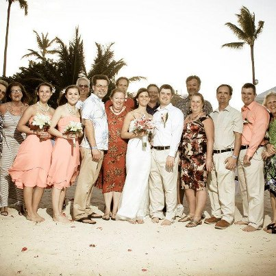 The whole wedding group at Ocean Blue